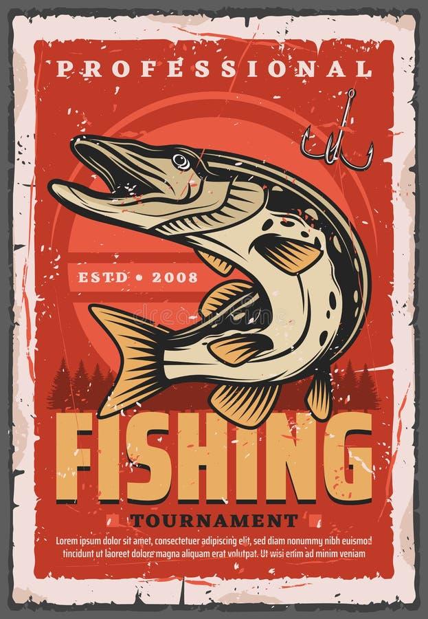 Крюк рыбной ловли, рыбы щуки и снасть рыболова иллюстрация вектора