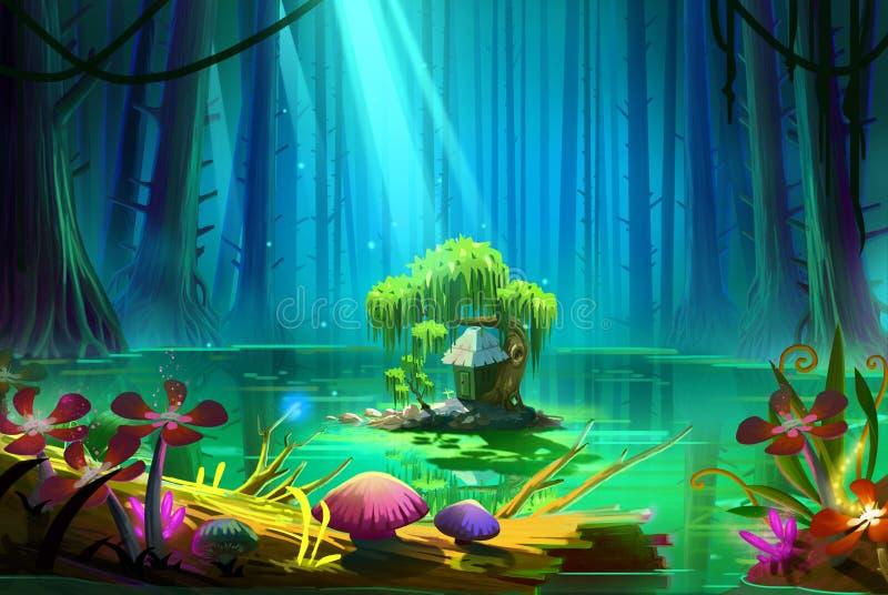 Кто живет там в середине озера внутри глубокого леса иллюстрация вектора