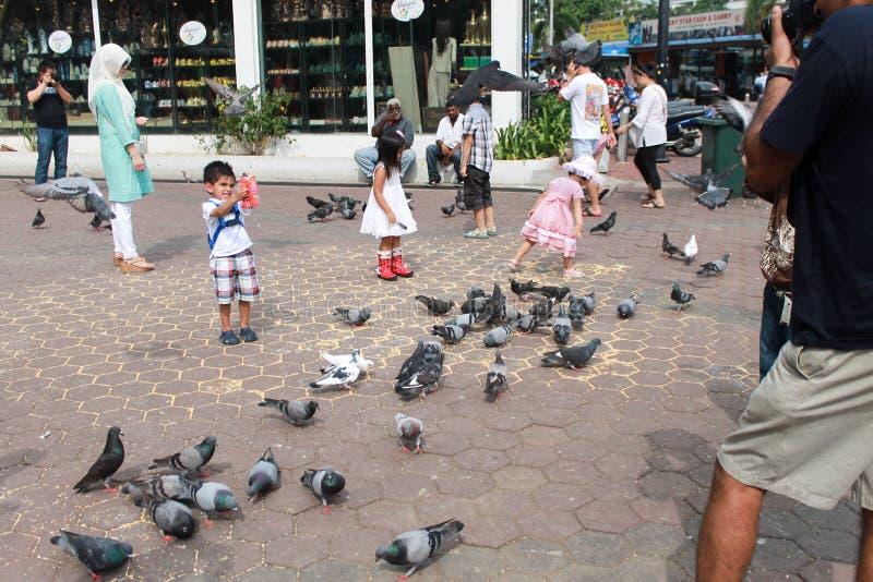 Куала-Лумпур, Малайзия - 11-ое августа 2013: Дети играя с голубями около пещер Batu стоковые изображения