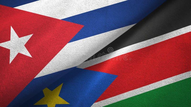 Куба и южная ткань ткани флагов Судана 2, текстура ткани иллюстрация штока