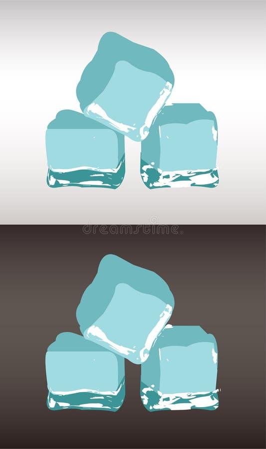 3 куба льда на белой и черной предпосылке бесплатная иллюстрация