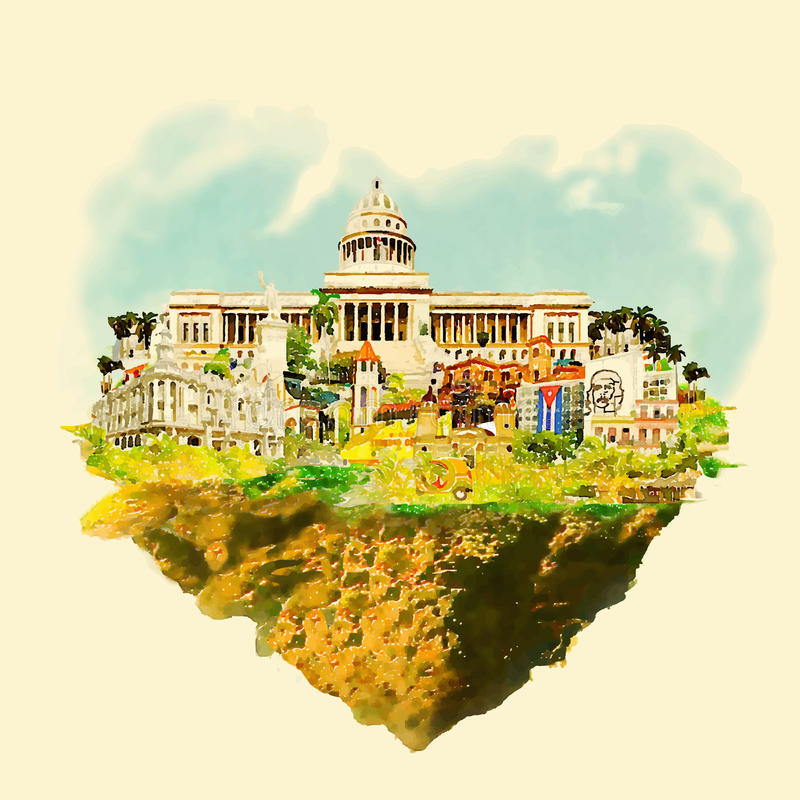 Куба иллюстрация штока