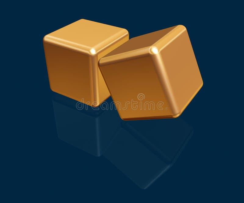 кубики золота 3d иллюстрация вектора