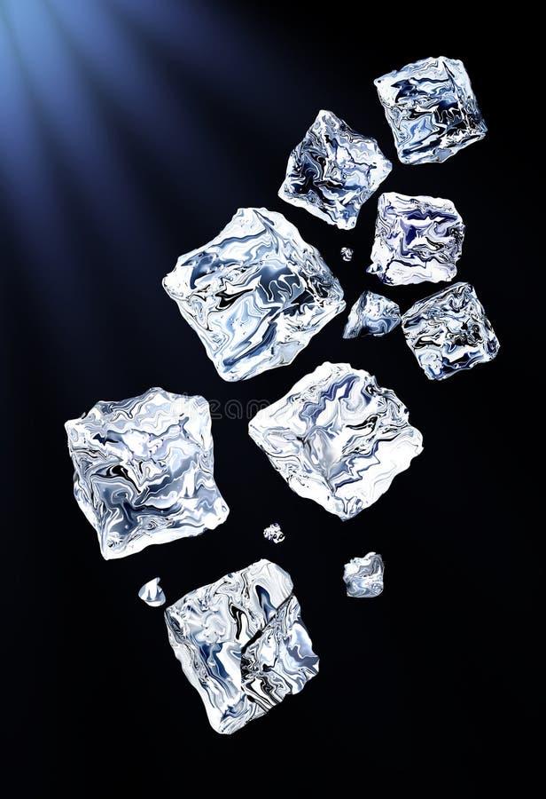 кубики летают льдед стоковые фото
