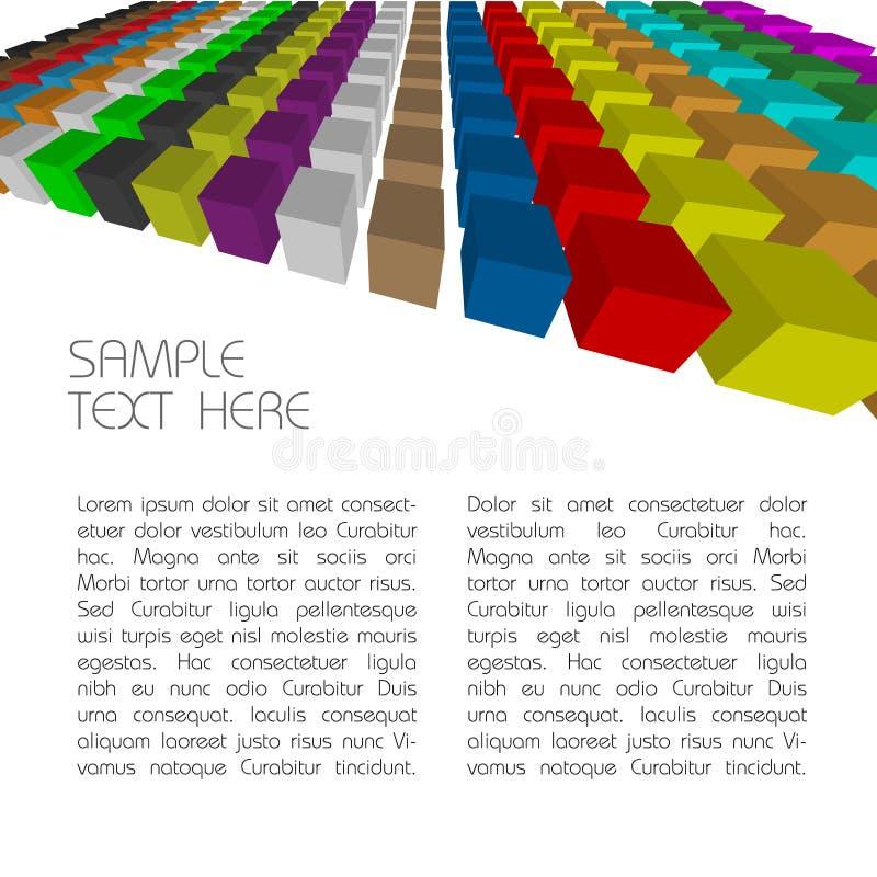 кубики предпосылки 3d цветастые иллюстрация вектора