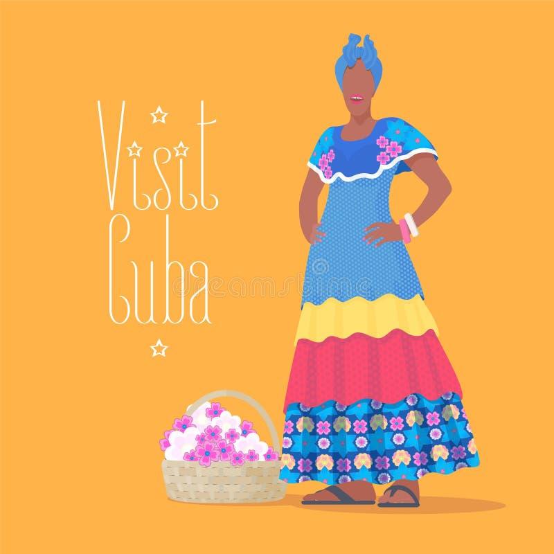 Кубинськая иллюстрация вектора чернокожей женщины иллюстрация штока