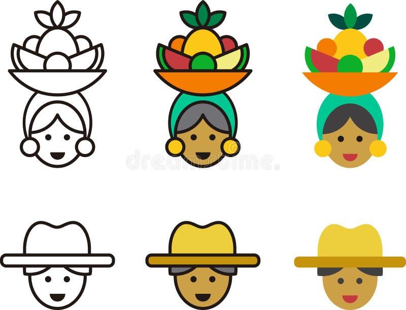 Кубинськие значки женщины и человека иллюстрация штока