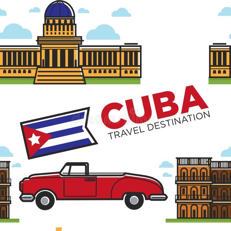 Кубинськие символы автомобиль и cabriolet архитектуры и строя безшовная картина иллюстрация штока