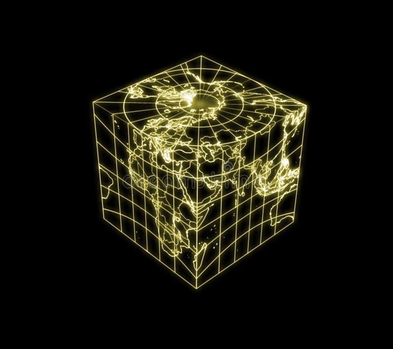 кубический план карты света глобуса земли бесплатная иллюстрация