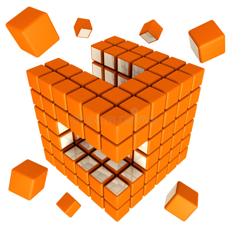 кубический сход иллюстрация штока
