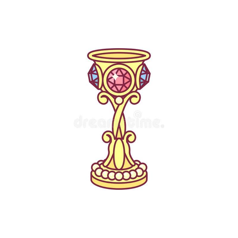 Кубок вектора желтый золотой, кубок иллюстрация штока