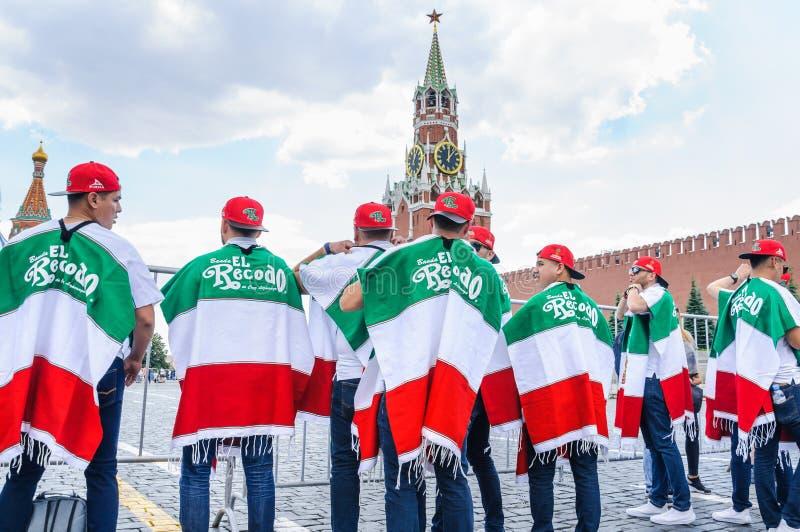 Кубок мира 2018 ФИФА Мексиканское recodo el banda музыкальной группы на красной площади стоковая фотография