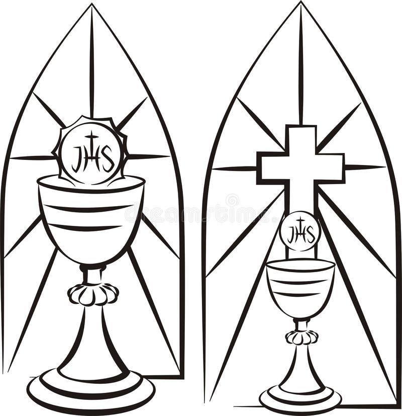 Кубок на предпосылке цветного стекла иллюстрация штока