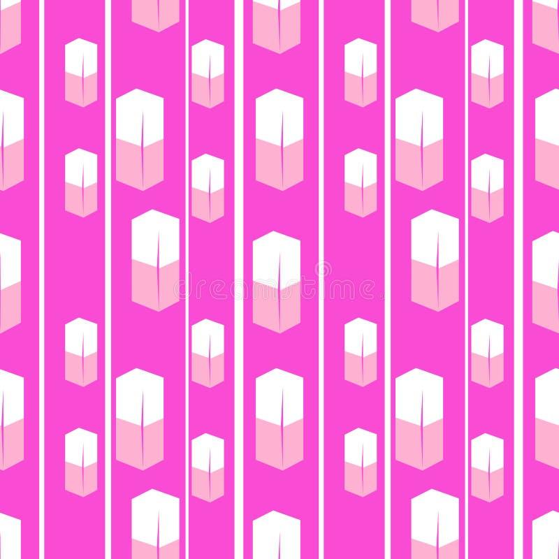 Кубы безшовной текстуры белые с розовой предпосылкой иллюстрация штока