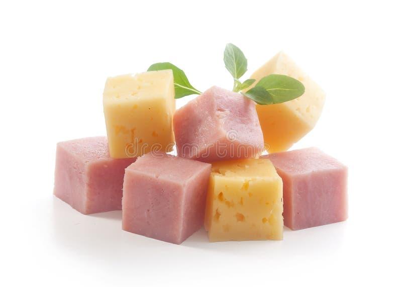 Кубы ветчины и сыра стоковое изображение