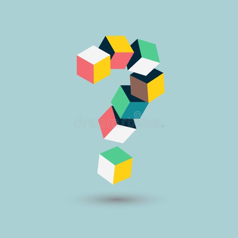 Кубы вопросительного знака формируют, равновеликие сомнения, иллюстрация вектора бесплатная иллюстрация