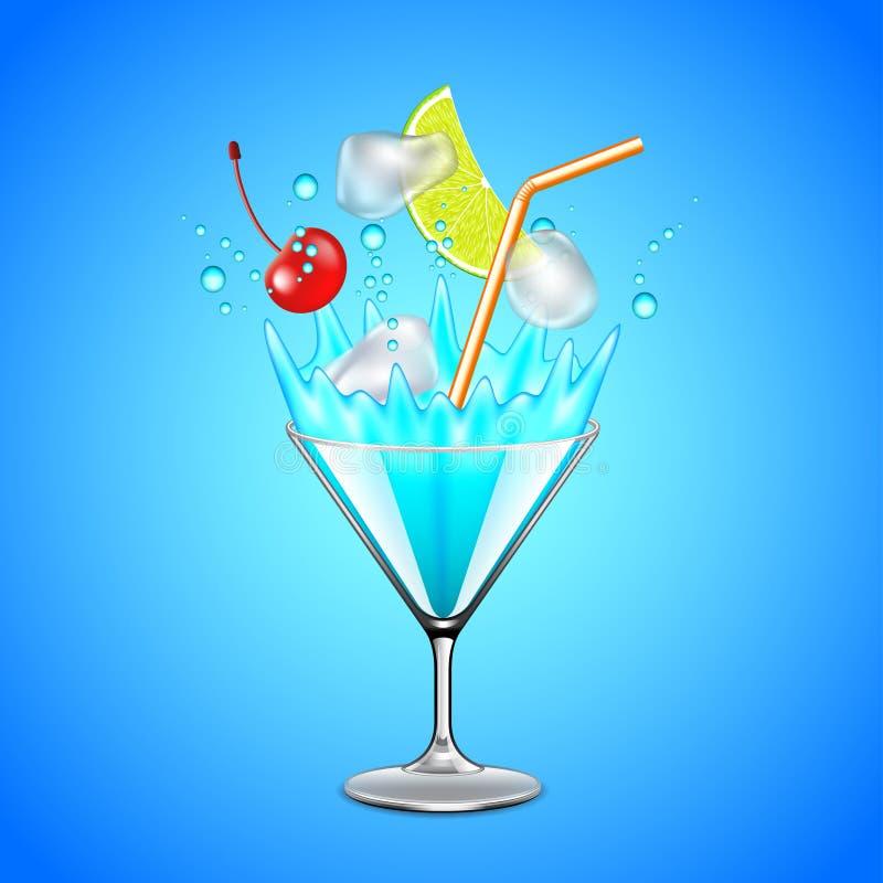 Кубы и плодоовощи льда падая в голубой коктеиль лагуны иллюстрация вектора