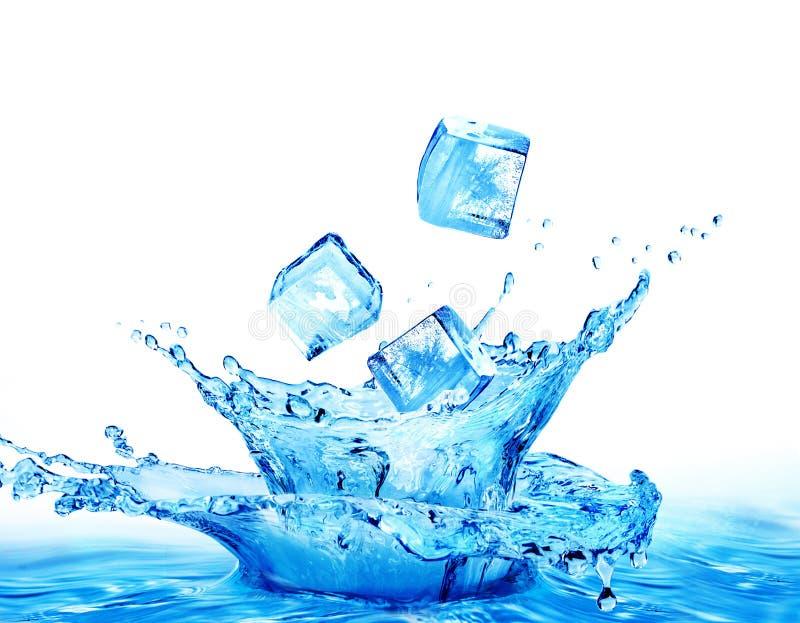 Кубы льда падая в воду изолированную на белой предпосылке стоковое изображение rf