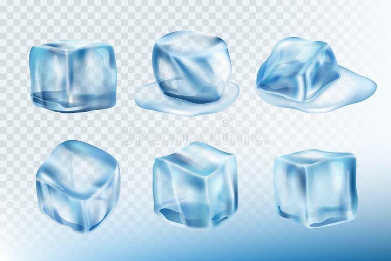 Кубы льда реалистические Лужицы smudges и брызгают собрания изображений вектора воды замораживания иллюстрация вектора