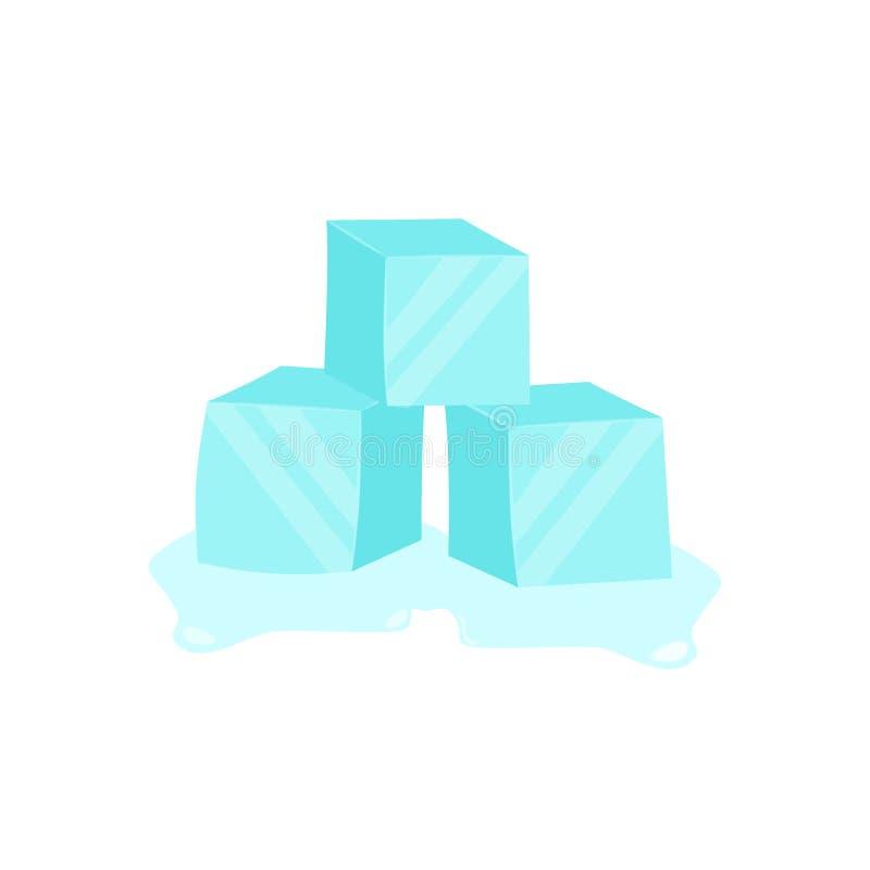 Кубы льда Холодный прозрачный замороженный блок r иллюстрация вектора