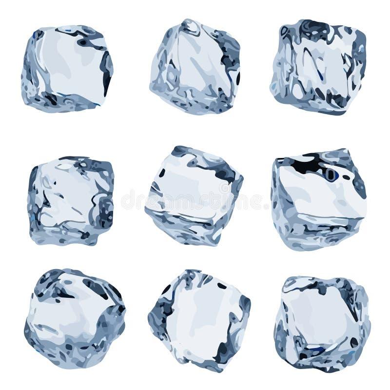 кубы льда 3d, набор вектора, изолированная иллюстрация бесплатная иллюстрация