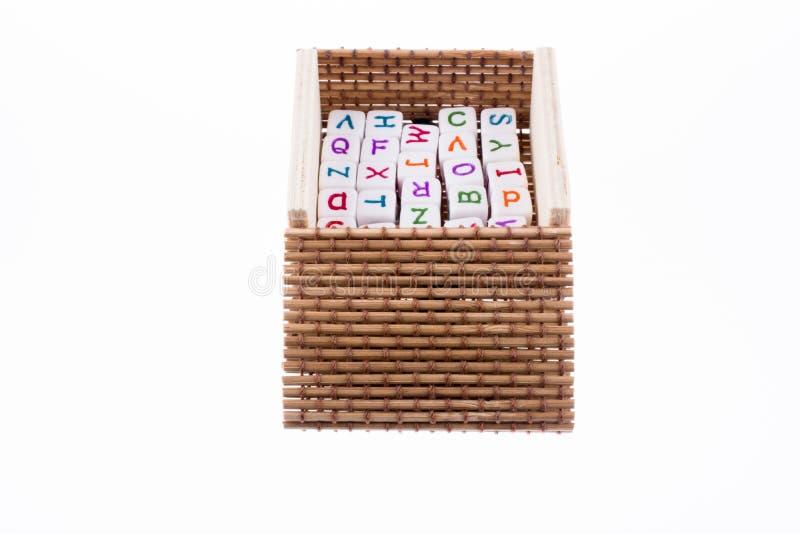 Кубы письма на коробке стоковая фотография rf