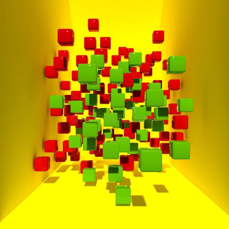 Кубы покрашенные конспектом в желтом космосе перевод 3d иллюстрация вектора
