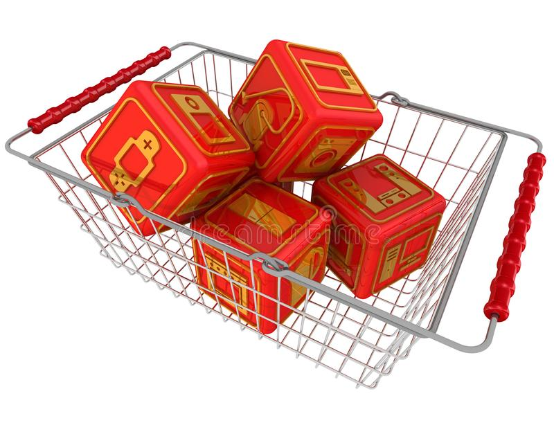 Кубы с символами бытовых приборов в корзине для товаров иллюстрация вектора