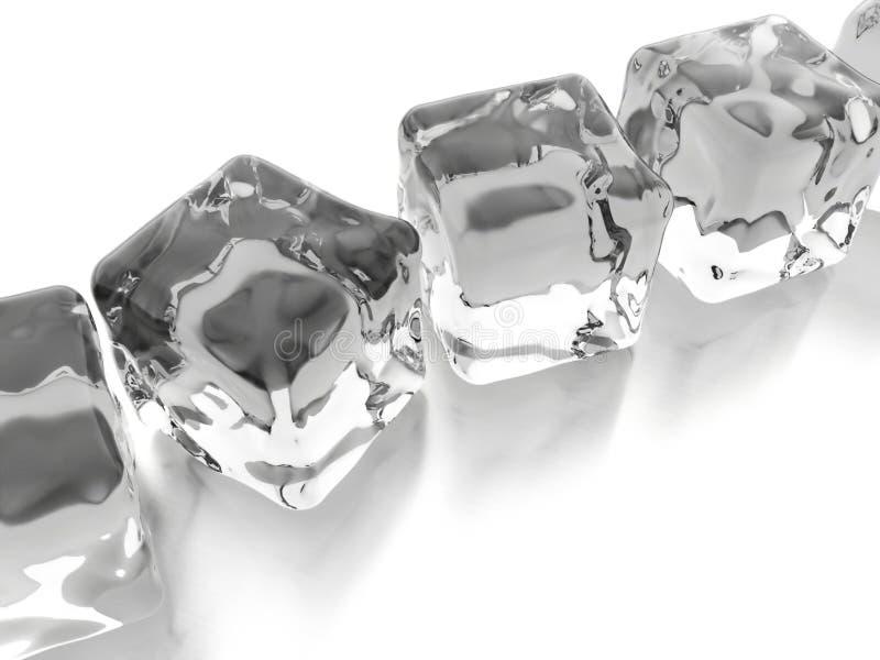 Кубы льда представленные на белизне стоковое изображение