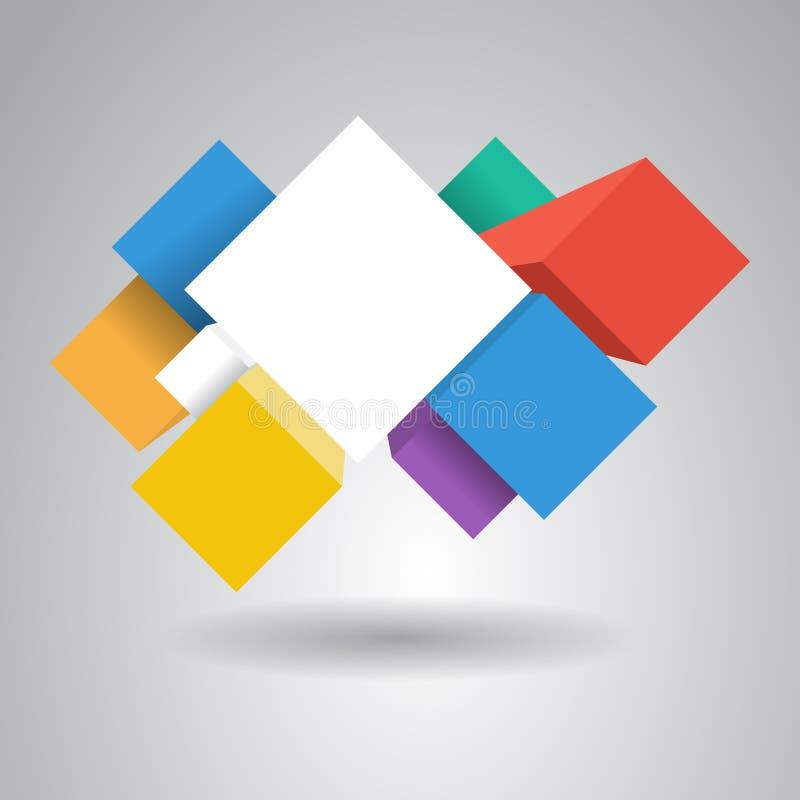 Кубы Infographic для веб-дизайна стоковое изображение