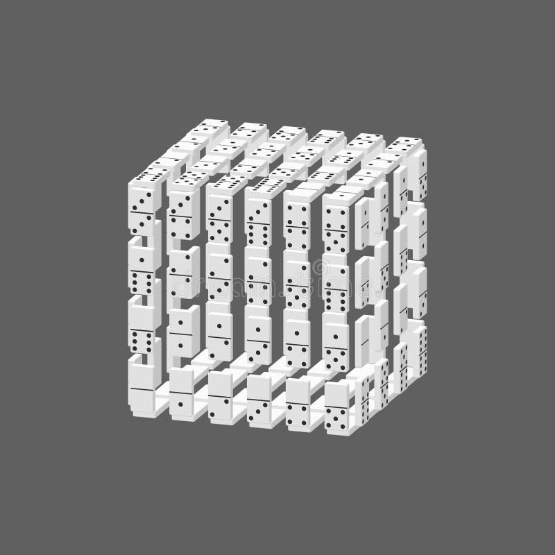 Куб домино Изолировано на серой предпосылке вектор иллюстрации 3d иллюстрация штока