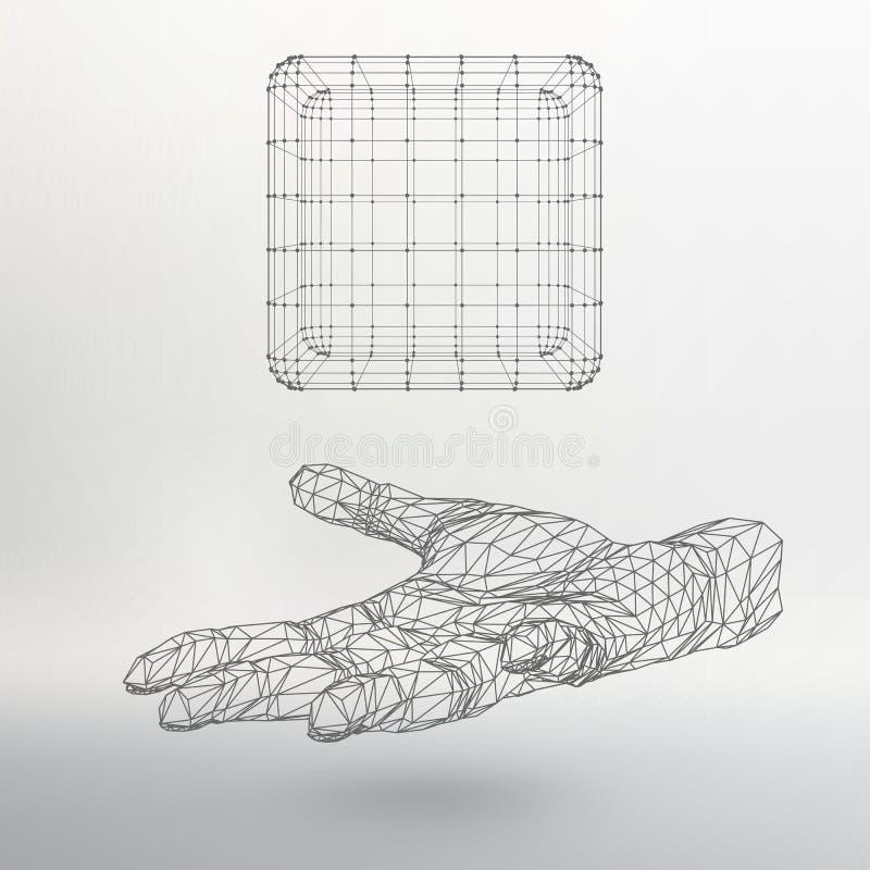Куб линий и точек на руке Рука иллюстрация штока