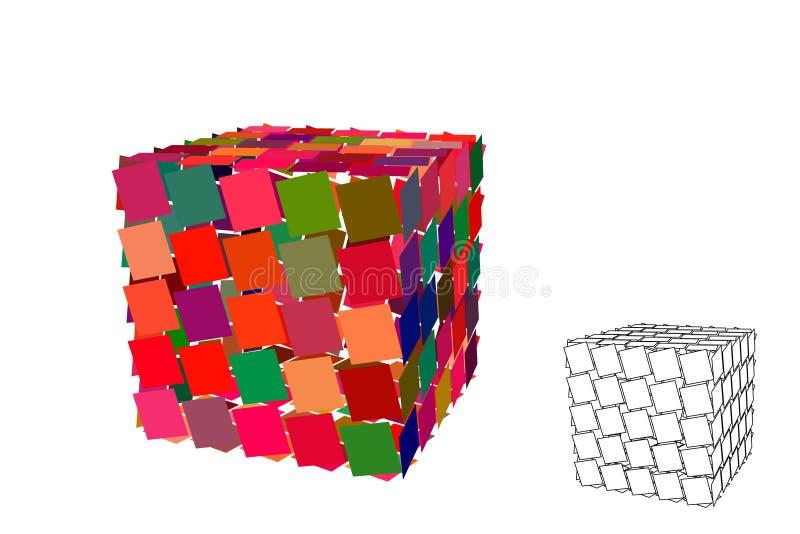 Куб конспекта полигональный сломленный белизна изолированная предпосылкой также вектор иллюстрации притяжки corel бесплатная иллюстрация