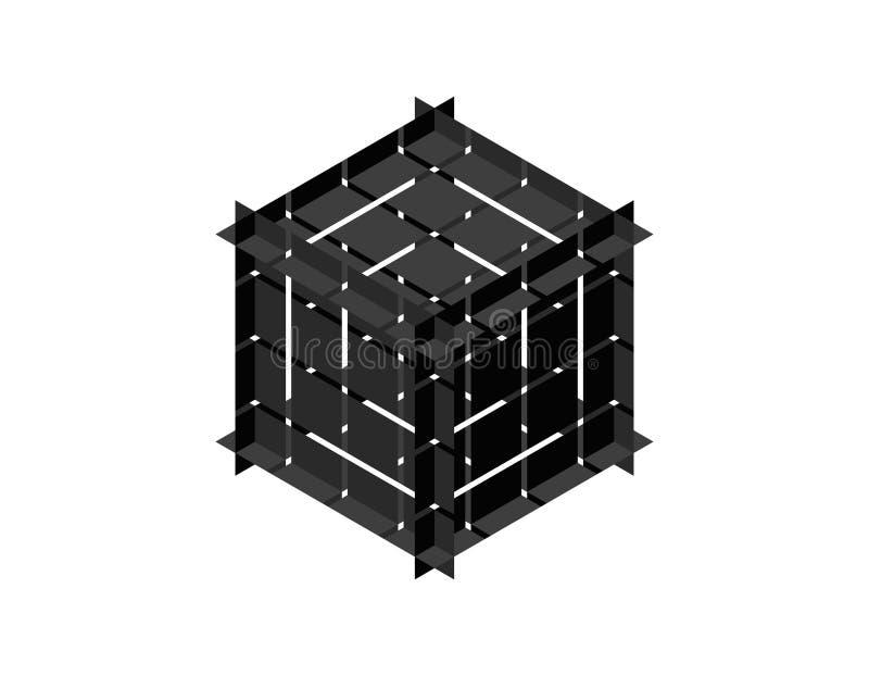 Куб конспекта полигональный сломленный вектор иллюстрации 3d Равновеликая проекция иллюстрация вектора