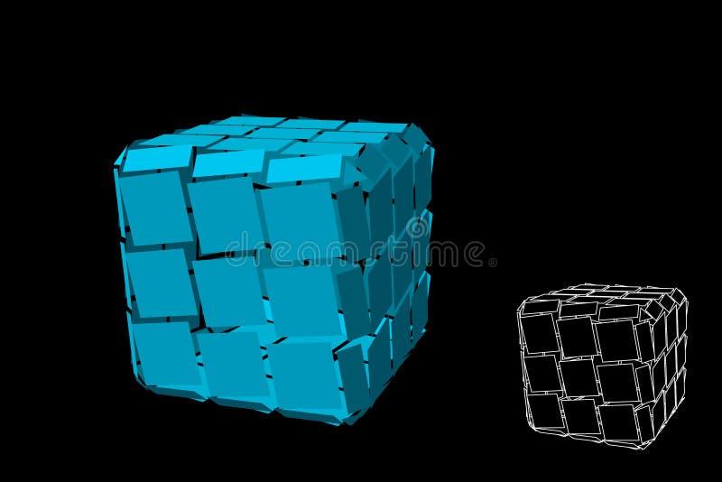 Куб конспекта полигональный сломленный Изолировано на черной предпосылке также вектор иллюстрации притяжки corel бесплатная иллюстрация