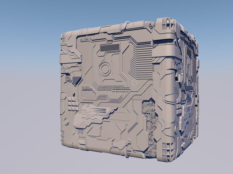 Куб научной фантастики 3D иллюстрация штока