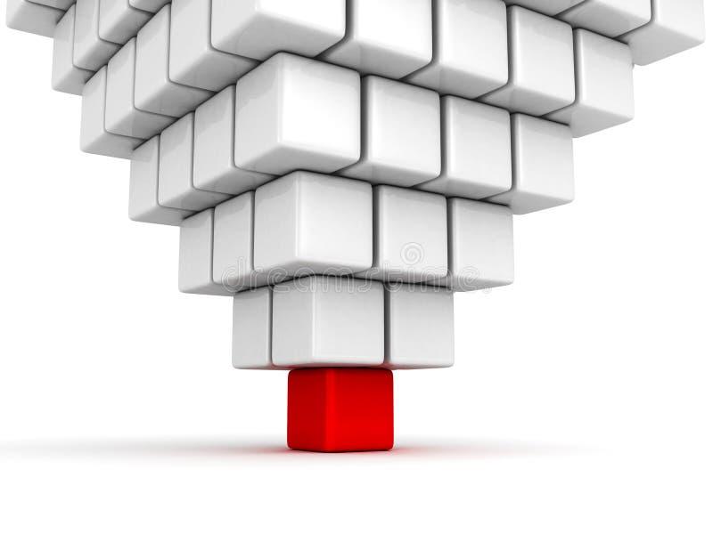 Куб различного индивидуального руководителя красный группы пирамиды иллюстрация штока