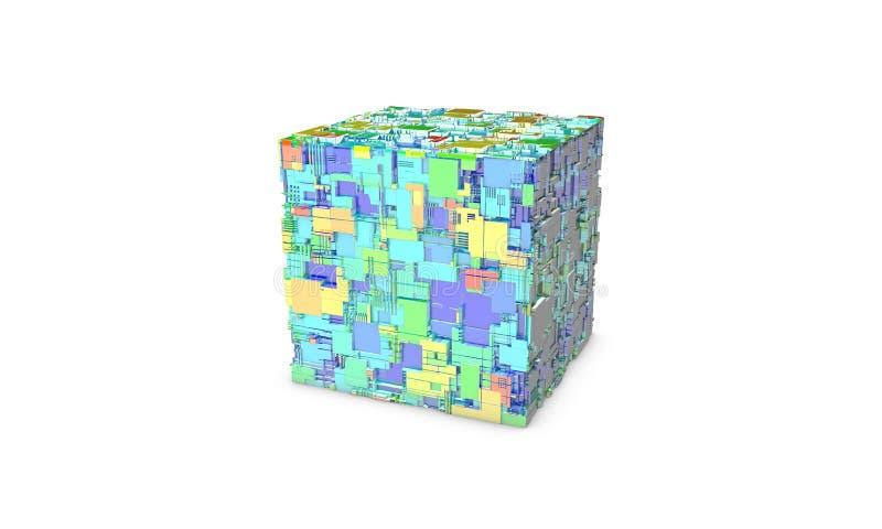 Куб радиотехнической схемы, 3d иллюстрация штока