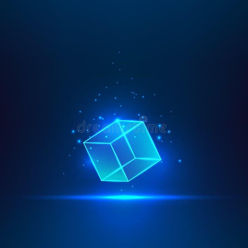 Куб стекла вектора иллюстрация вектора