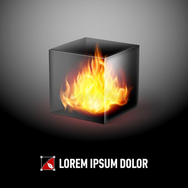 Куб с пламенами огня иллюстрация вектора