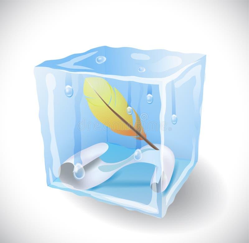 Куб льда с пером и бумагой бесплатная иллюстрация