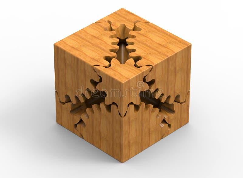 Куб Clockwork деревянный иллюстрация вектора