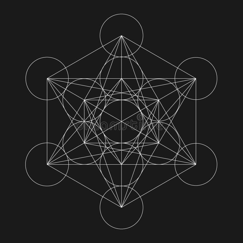 Куб Metatrons Цветок жизни Священное геометрическое иллюстрация штока