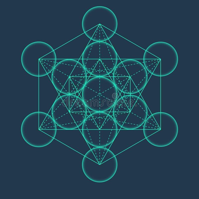 Куб Metatrons Цветок жизни Священное геометрическое иллюстрация вектора