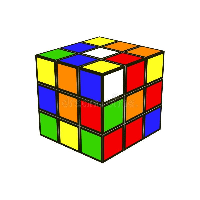 Куб ` s Rubik икона игрушка иллюстрация вектора