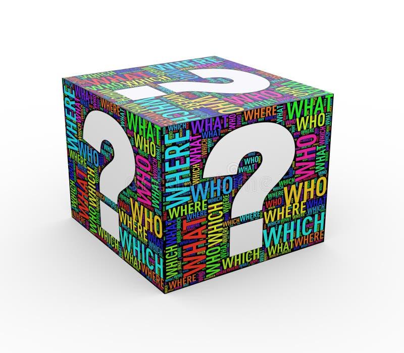 куб wordtags wordcloud вопросительного знака 3d иллюстрация вектора