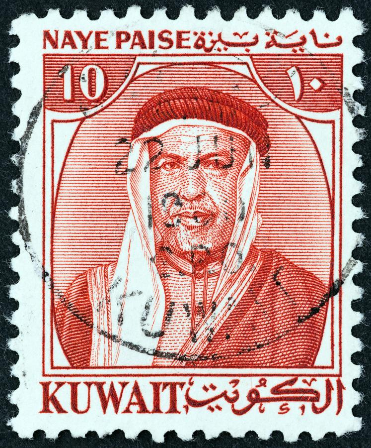 КУВЕЙТ - СИРКА 1958: На марке, напечатанной в Кувейте, шейх Абдулла III является первым эмиром Кувейта, примерно 1958 года стоковая фотография rf