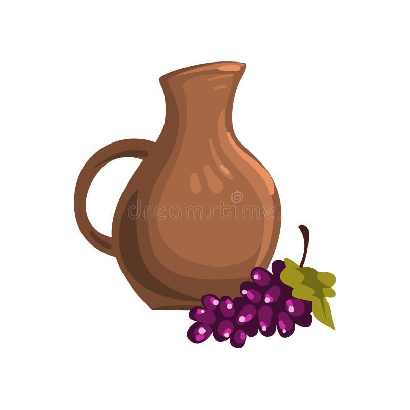 Кувшин Брайна керамический вина Пук зрелых виноградин с зелеными лист Традиционное грузинское питье Перемещение к Georgia бесплатная иллюстрация