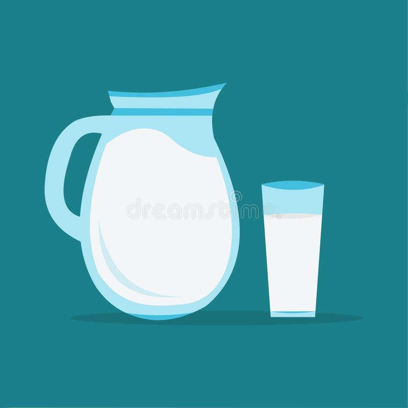 Кувшин молока с одной стеклянной иллюстрацией вектора молока иллюстрация вектора