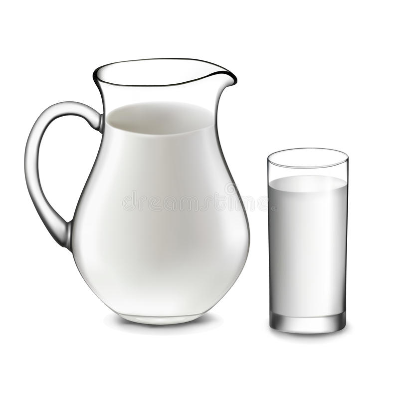 Кувшин молока и стекло молока. иллюстрация вектора